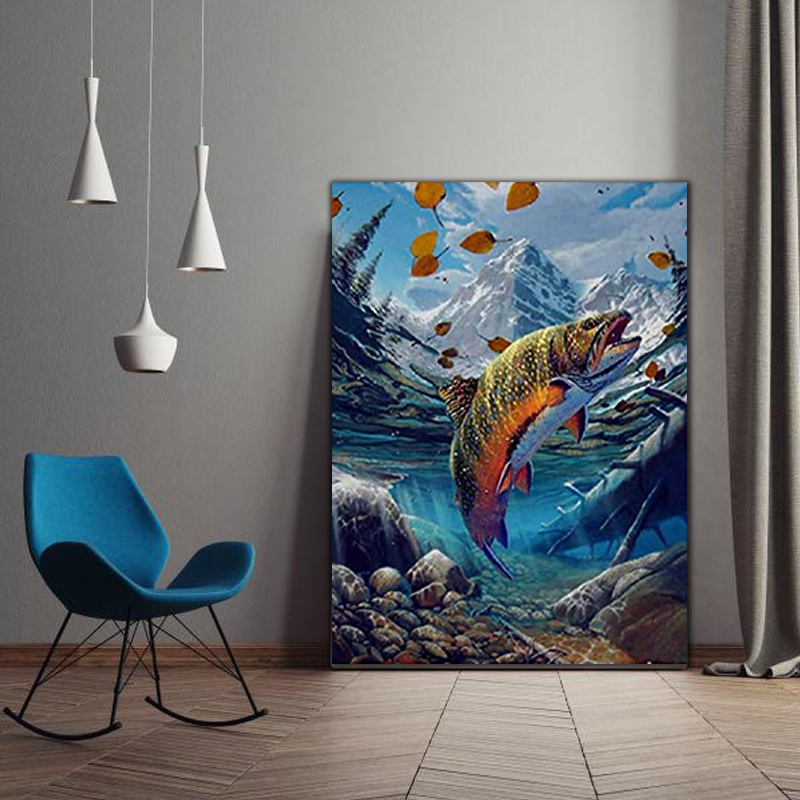 DIY Colorings Pictures By Numbers With Fish Picture Drawing Relief Painting By Numbers Framed Home
