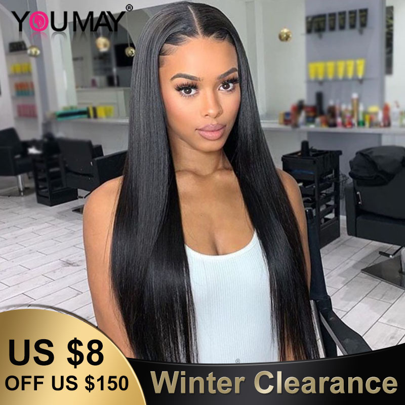 250 Density 13X6 Lace Front Human Hair Wigs For Women Fake Scalp Barzilian Straight 360 Lace Frontal Wig Pre Plucked YouMay Remy