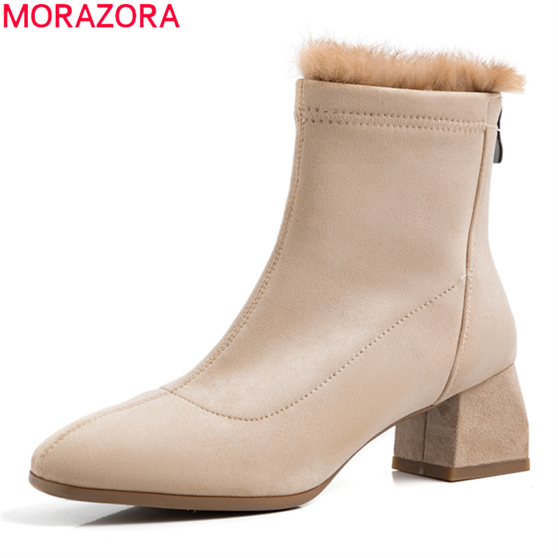 MORAZORA 2020 winter keep warm shoes woman boots med heels round toe solid flock leisure shoes solid hot sale ankle boots
