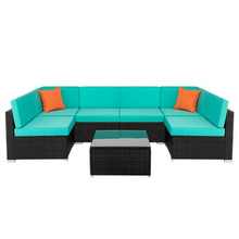 DR-7 Piece Rattan Sofa Brown Gradient