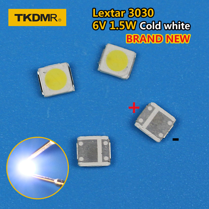 TKDMR 100pcs Lextar LED Backlight High Power LED 1.8W 3030 6V Cool White 150-187LM PT30W45 V1 TV Application 3030 Smd Led Diode