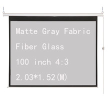 Thinyou 100 inch 4:3 Electric Motorized Projector Screen Matte Gray Fabric Fiber Glass with Remote for Home Theater Movie Office