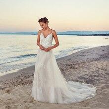 Szata de mariee New arrival 2020 letnia plaża suknia ślubna z paskami białe suknie ślubne bez pleców Vestige De Noiva