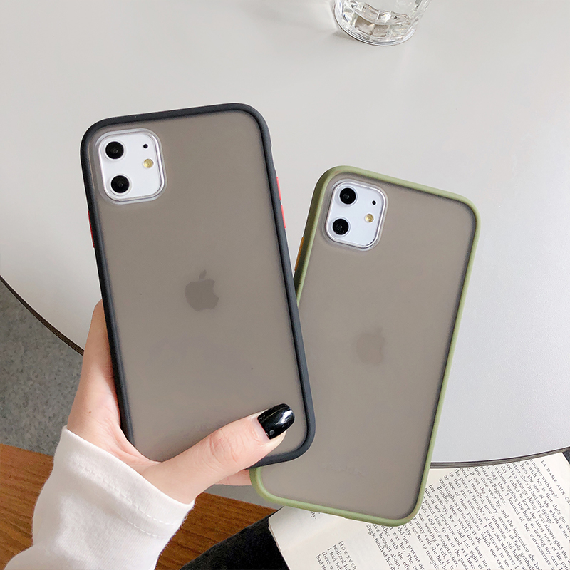 Hb46f31b03cb845ca86f89499765156cfS - Mint Hybrid Simple Matte Bumper Phone Case For iPhone 11 Pro Max XR XS Max 6S 8 7 Plus Shockproof Soft TPU Silicone Clear Cover