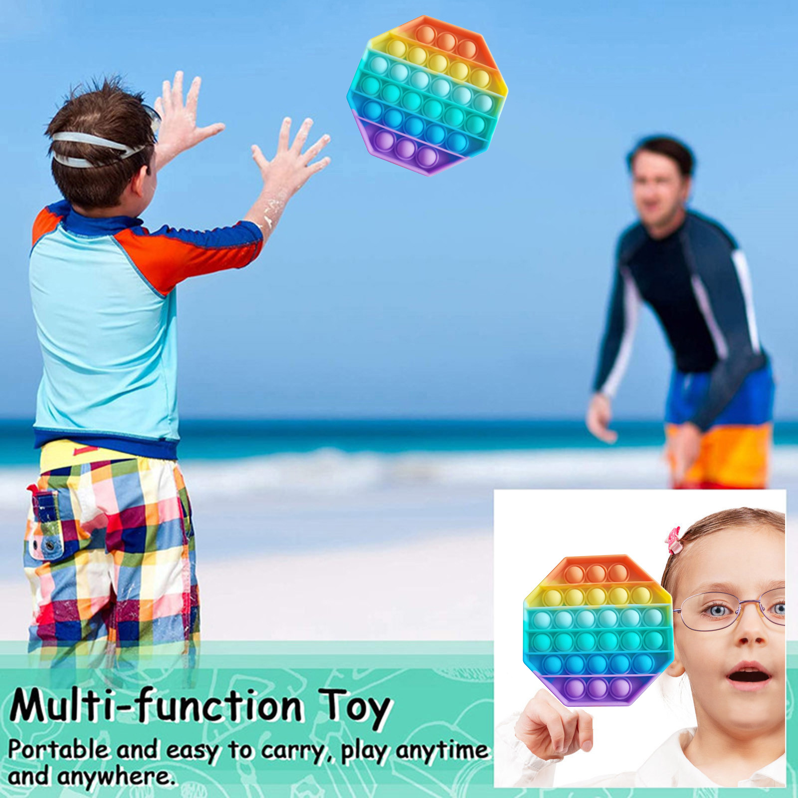 Fidget-Toys Pop It Anti-Stress Rainbow-Color Adults Children Stretchy-Strings Relief img4