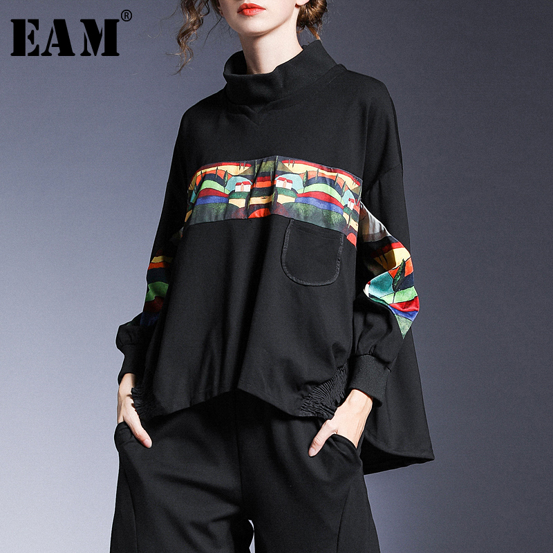 [EAM] Loose Fit Pattern Spliced Pleated Sweatshirt New Turtleneck Long Sleeve Women Big Size Fashion Autumn Winter 2019 1A075