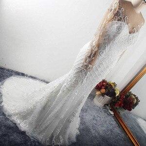 Image 3 - RSW1541 Африке черного цвета для девочек одежда с длинным рукавом тяжелых платье русалка, украшенное бусинами свадебное платье