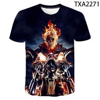 Camisetas de calavera para hombre, camiseta guay de manga corta de verano con estampado de calavera en 3D azul y manga corta de Ghost Rider, camiseta de hombre con estampado de calavera Rock y calavera con fuego