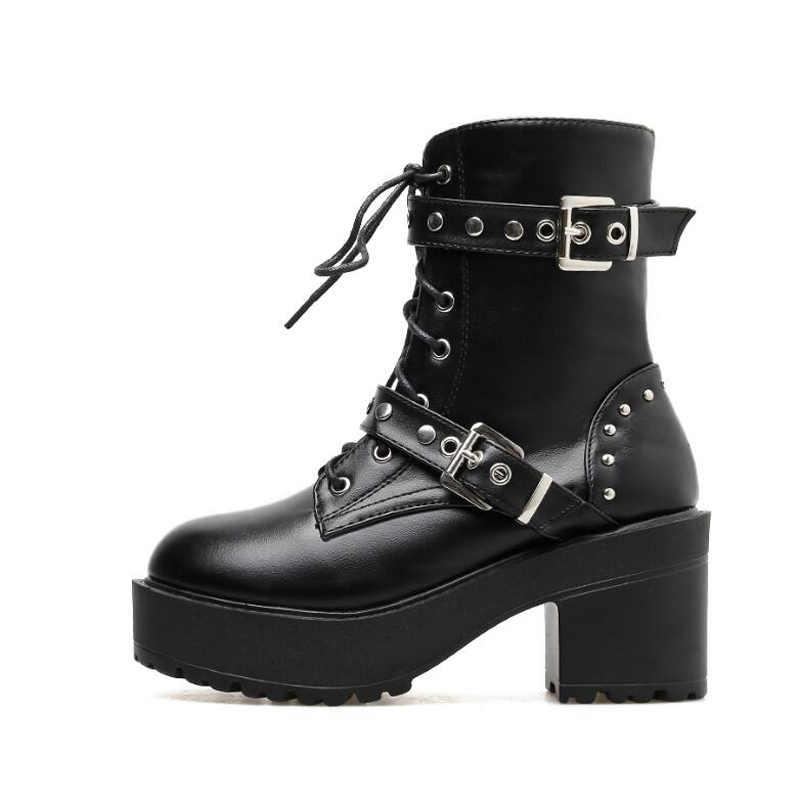 2020 yeni toka kış motosiklet botları kadın İngiliz tarzı yarım çizmeler gotik Punk düşük topuk bileğe kadar bot kadın ayakkabı YMA906
