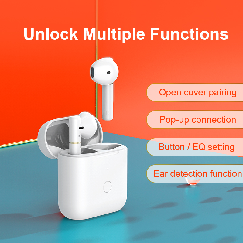 lowest price QCY T8earphones                                                                                     Semi-in-ear bluetooth oortelefoon app headphones control with charge case
