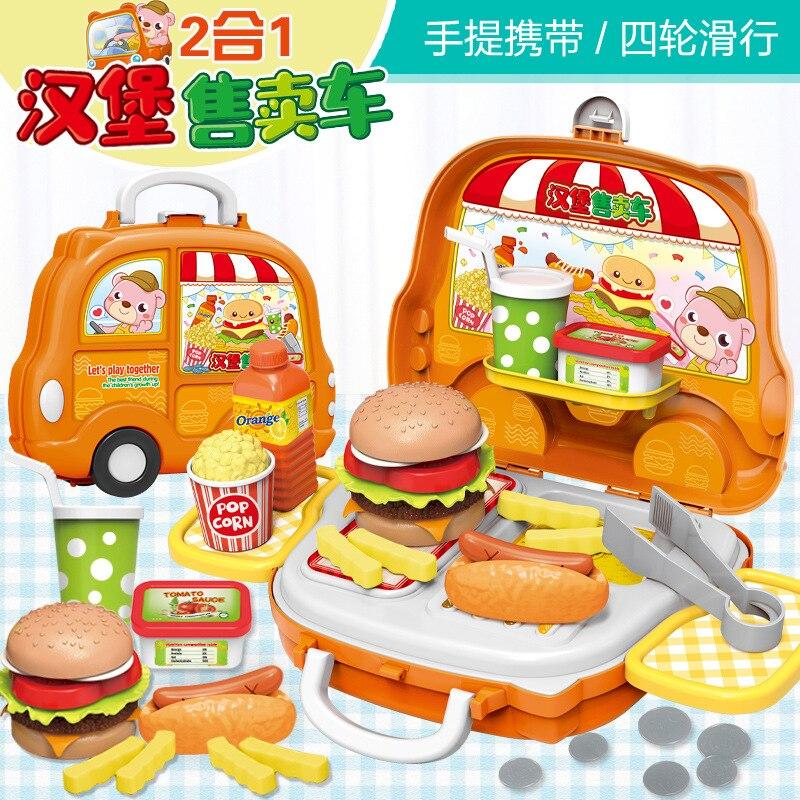 Children Simulation Fast Food Hamburger Hotdog Kitchen Toys Pretend Play Miniature Snack Burger Groceries Shop Educational Toys