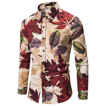 Floral Shirt Casual Men Single Breasted Flower Shirts Spring Turn-down Collar Casual Camisa Long Sleeve Men Shirts High Quality girls plaid blouse 2019 spring autumn turn down collar teenager shirts cotton shirts casual clothes child kids long sleeve 4 13t