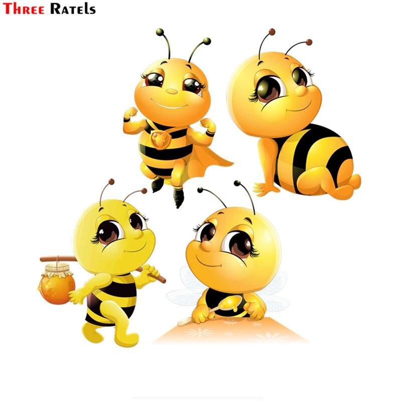 Three Ratels FTC-665# Cartoon Beatiful Lovely Honey Bee Wall Bedroom Computer Auto Car Sticker Decoration