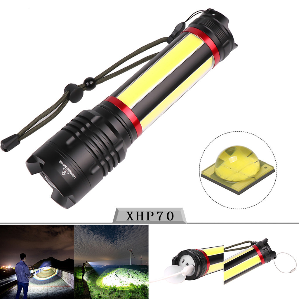 Bright COB LED USB Rechargeable Zoomable Flashlight Torch Lamp Light Waterproof