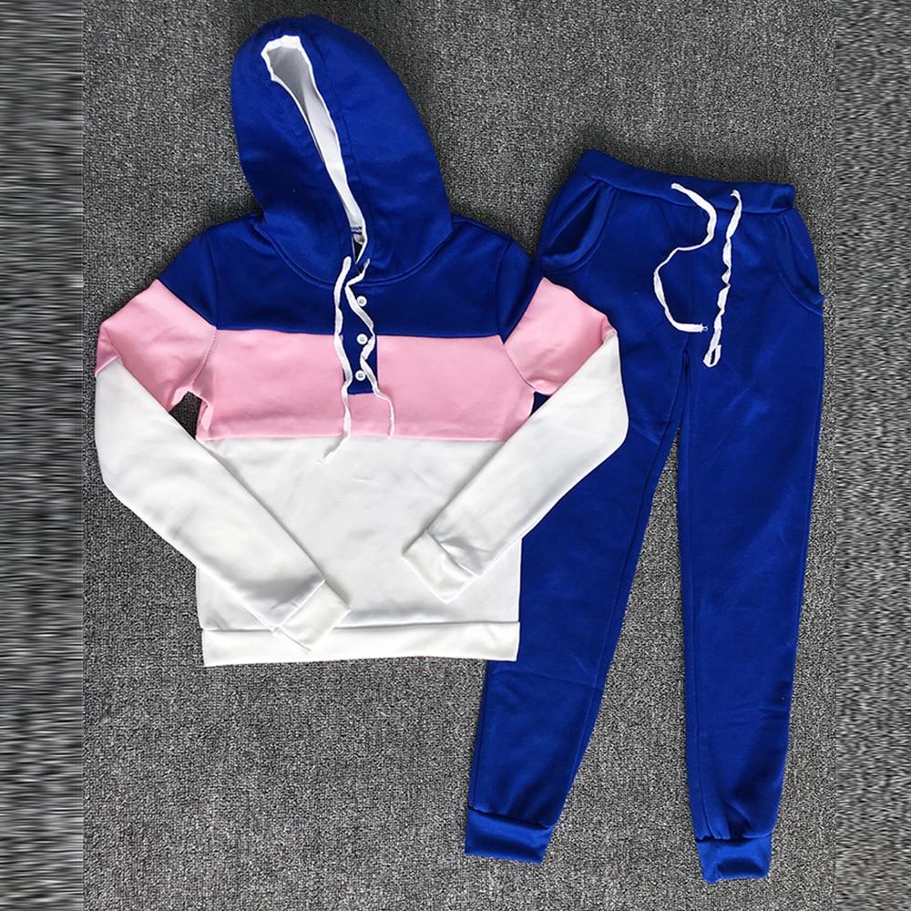 Tracksuit 2pcs Women Set Hoodies Crop Top Sweatshirt+side Stripe Pants Hooded 2 Pieces Sets Women Clothing Suits Female