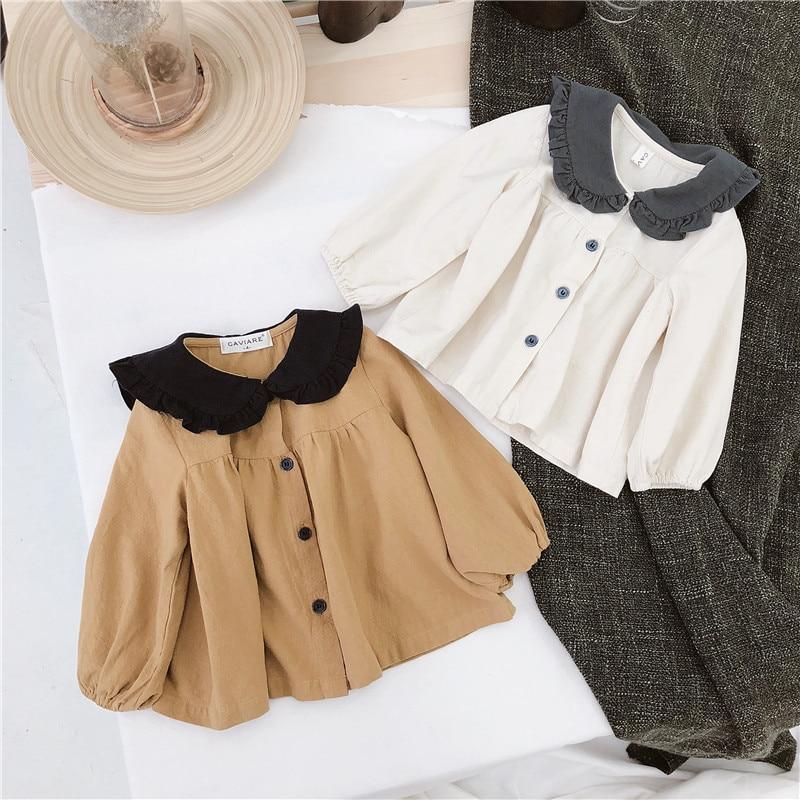 Spring 2019 New Children's Wear Korean Girls' Contrast Baby Collar Cotton Hemp Baby Shirt Children's Shirt