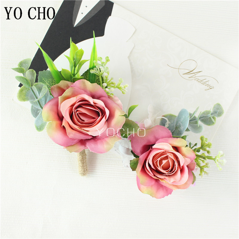 YO CHO Wedding Groomsmen Boutonniere White Pink Silk Flowers Corsage Bracelet Bridesmaids Wedding Marriage Suit Artificial Flore