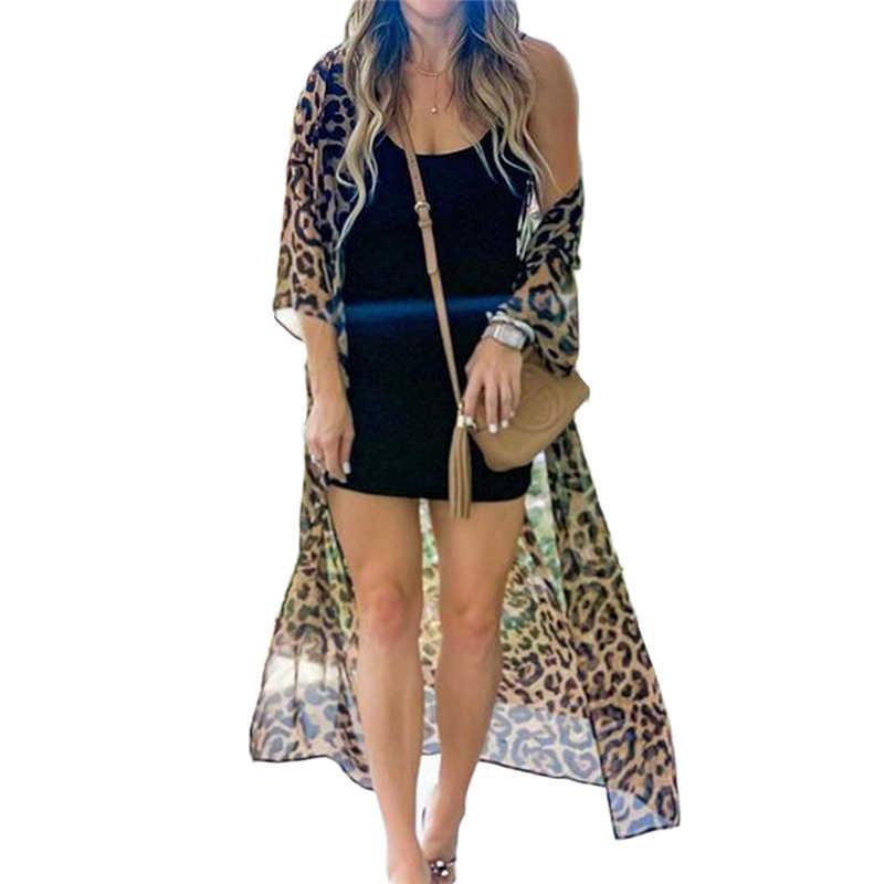 New Women Chiffon Leopard Printed Bikini Summer Beach Swimwear with Cover Up