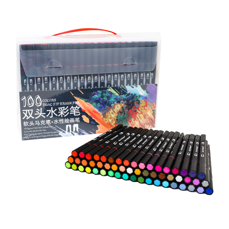 100 Color Watercolor Markers For Drawing Painting Set Professional Felt Tip Art Marker Brush Pen Set Dual Tip For School