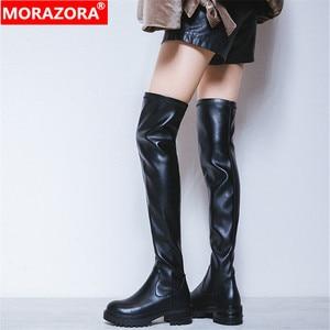 Женские облегающие ботфорты MORAZORA, черные ботфорты из натуральной кожи, на платформе и квадратном каблуке, с круглым носком, в стиле панк, 2020