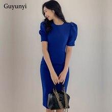 Vestido da senhora do escritório azul 2021 primavera cintura alta lápis moda simples puff sleevemarament feminino elegante vestido de festa