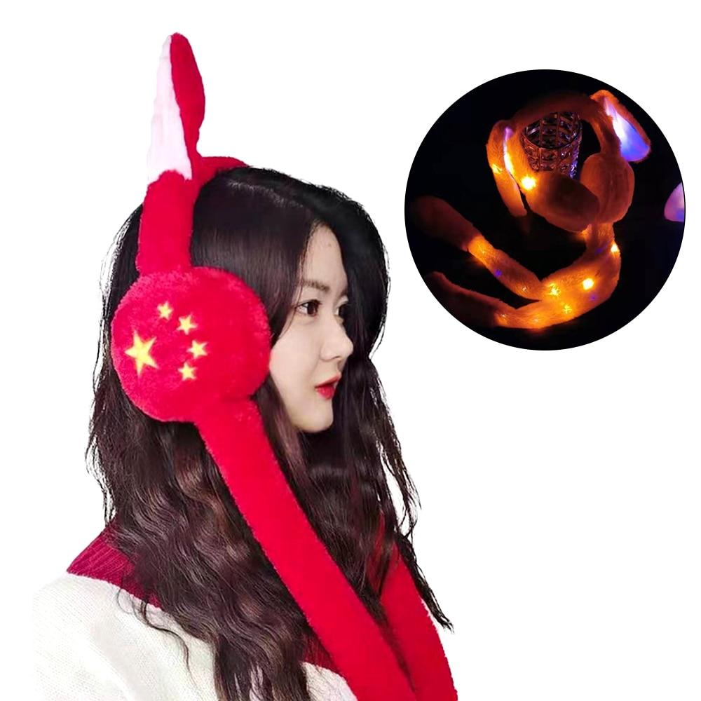 Winter LED Shine  Moving Rabbit Ear Hat Velvet Toys With Light Hair Hoop Hat Earmuffs Plush Toy Gifts For Children Warm Earmuffs