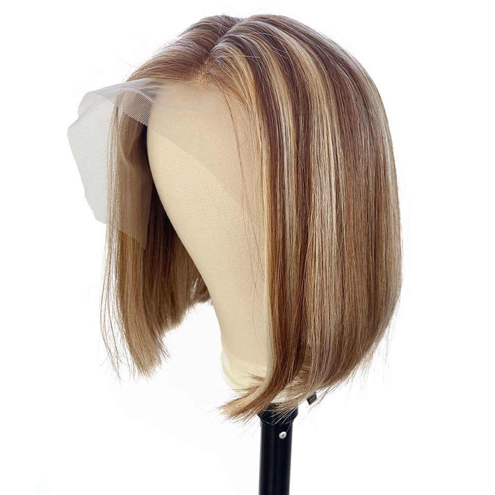 LOVINESS U Teil Kurze Bob Fashion Günstige Perücke Menschliches Haar Verschluss Blonde Schwarz Farbe Ombre Remy Gerade Vor Gezupft Haar für Frauen