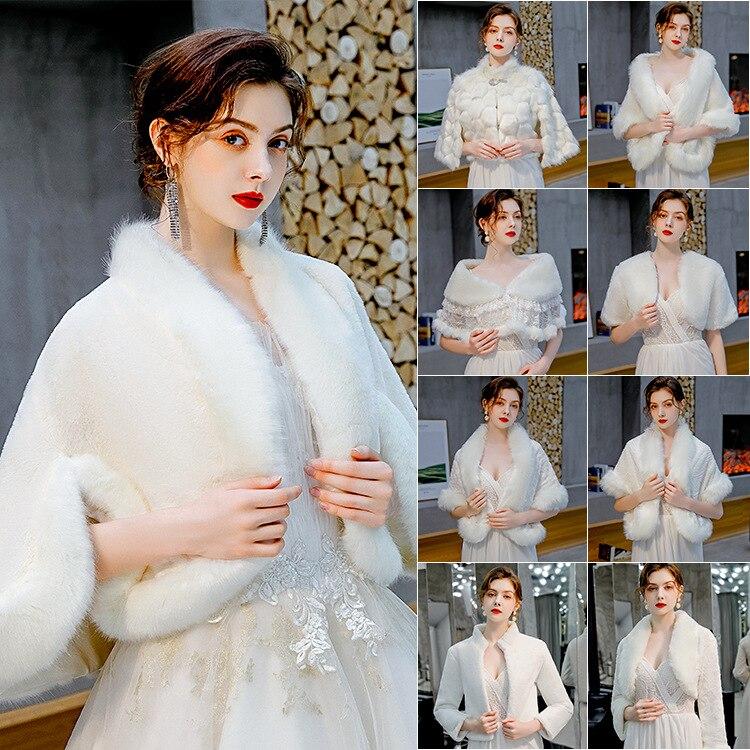 Variety Of Design Wedding Bride Shawl New Ladies Winter Scarf Wool Shawl Warm Cloak Bridal Wraps Fur Cape Bubble Coat Womens