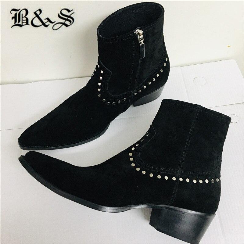 Black& Street 2020ss Rivet suede Leather wedge Pointed Toe Chelsea Men Boots spike stud denim handmade Boots