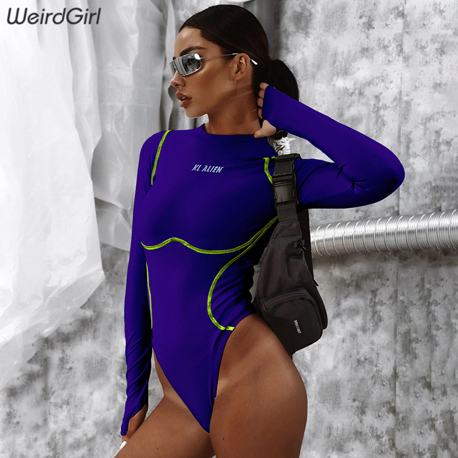 Weirdgirl Women Letter Reflective Bodysuits Stripy New Autumn Thumb Hole Full Sleeve Solid Elastic Slim Female Trousers 2019
