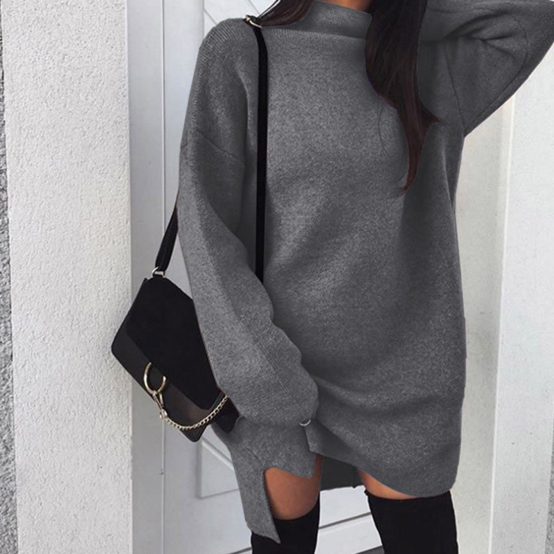 Autumn Winter Long Sweater Women Casual Warm Solid Color High Collar Long Sleeve Tops Girls Plus Size Sweaters