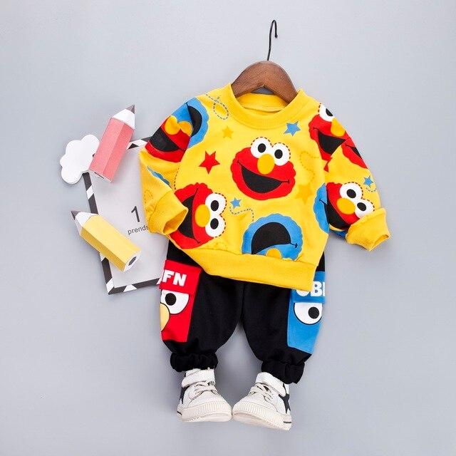 Boys Clothes Fashion Cartoon Boy Suit Set Casual Hot Sale Kids Costume Boy Clothing Set T shit + Black Pants Children