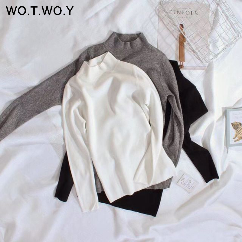 WOTWOY 19 Cashmere Knitted Women Sweater Pullovers Turtleneck Autumn Winter Basic Women Sweaters Korean Style Slim Fit Black 9