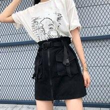 A Line Zipper Pockets Women Mini Cargo Skirts Sashes Bodycon Solid Ladies Short Skirt Summer Female Bottom Casual 2021 Korean
