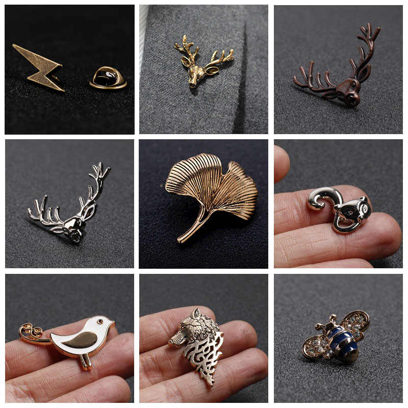 Logam Antik Serangga Hewan Burung Ikatan Simpul Kerah Pin Pria Jas Aksesoris Unisex Perhiasan Fesyen Bros Lencana