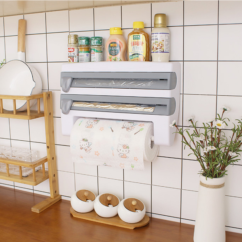 Wrapping Paper Cutter  Cling Film Sauce Bottle Storage Rack Tin Foil Paper Towel Holder Kitchen Shelf Plastic Wrap Cutting Tool