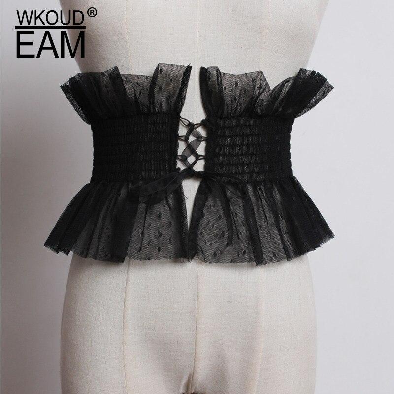 WKOUD EAM 2020 New Summer Corset Belt Chiffon Lace Round Dot Wide Belt Big Size Elastic Fashion Waistband Lady Tide PF457