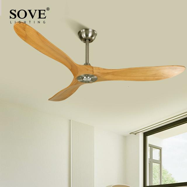 SOVE 60 Inch Industrial Vintage Wooden Ceiling Fans Without Light Decor Ceiling Fans Wood Remote Control Ventilateur De Plafond