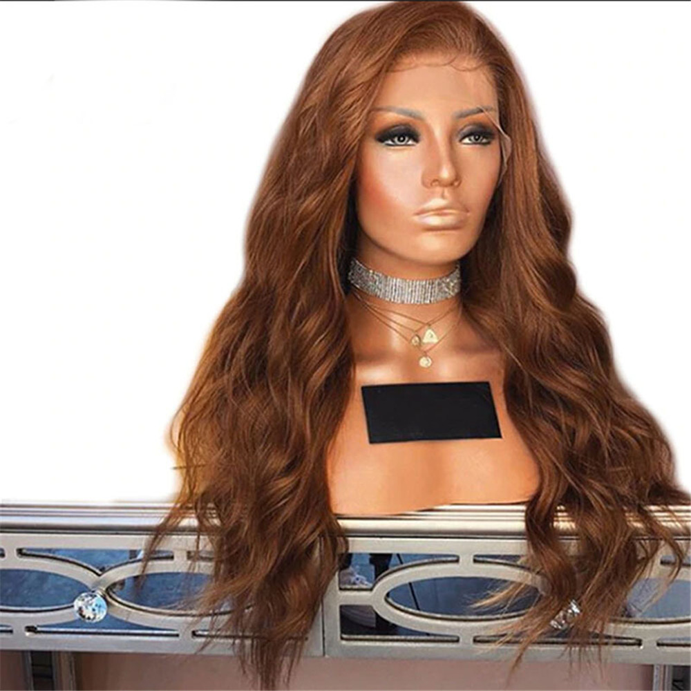 Colored #30 Brown 13x4 Lace Front Wig Brazilian Remy Human Hair Wavy Glueless With Baby Hair Preplucked 130% Density