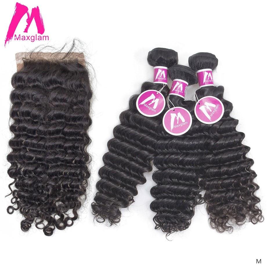 Brazilian Human Hair Weave Bundles With Closure Deep Wave Short Natural Long Remy Hair Extension For Black Women 3 Bundles