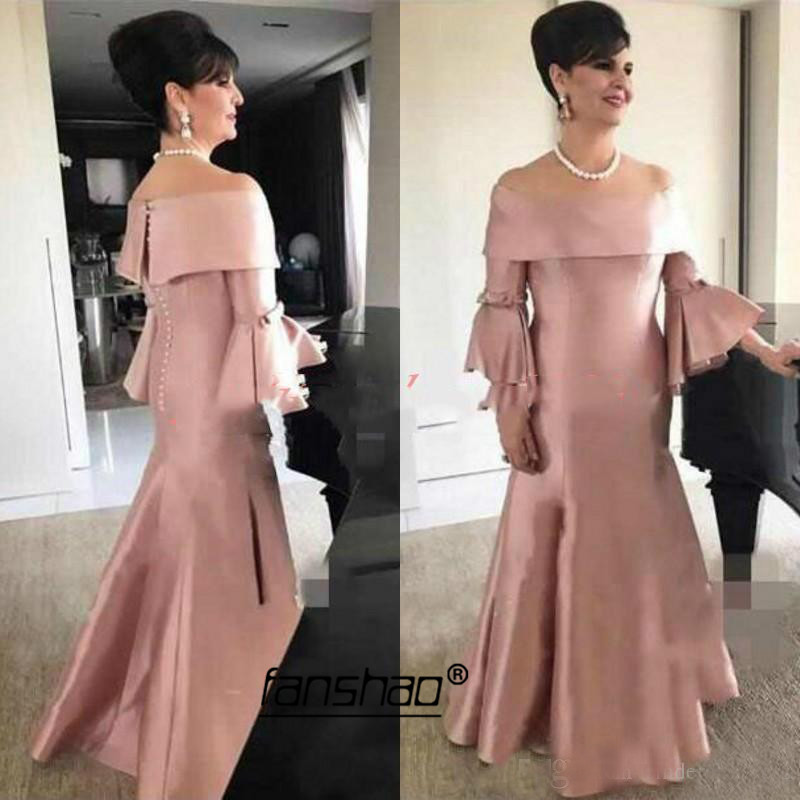 Dark Pink Mermaid Evening Dress Satin Trumpet Sleeve Vestidos De Festa Dubai Saudi Arabic Evening Dress Prom Dress Abendkleider