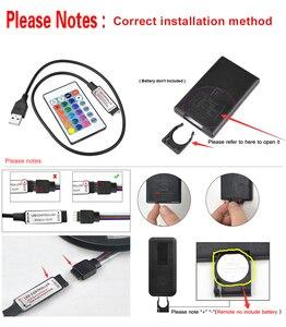 Image 2 - USB الطاقة إضاءة خلفية للتلفاز RGB LED أضواء مرنة 1M 2M 3M LED قطاع الطيرة مع 90 درجة موصل 24 مفاتيح عن بعد للكمبيوتر التحيز ضوء