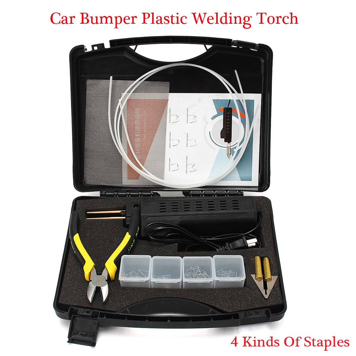 Tools : 220V Hot Stapler Car Bumper Plastic Welding Torch Fairing Auto Body Welding Machine Welding Tool Repair Kit With 200 Staples