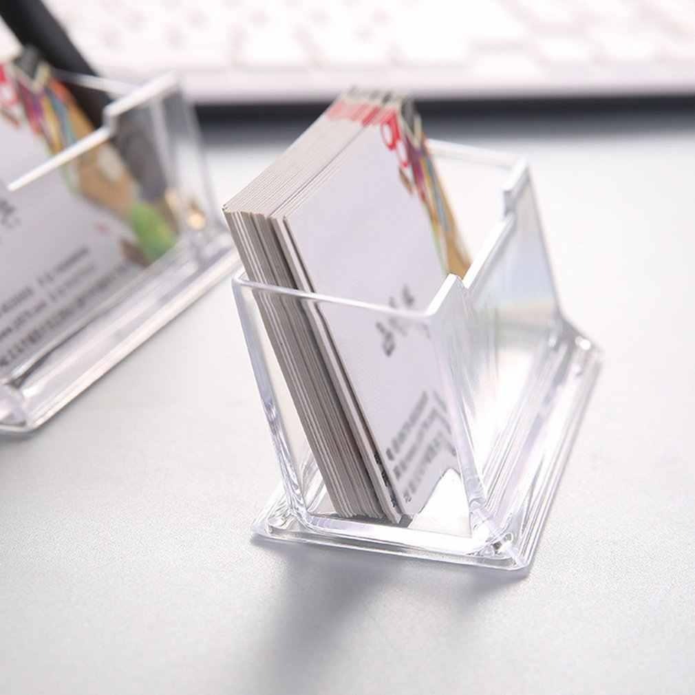 Portatile Trasparente Business Card Holder Display Stand da Tavolo Desktop di Controsoffitto Biglietto da Visita Holder Desk Box Mensola