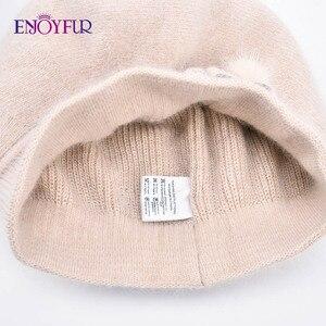 Image 5 - ENJOYFUR Kaşmir Bere Şapka Kadın Tavşan örme kışlık şapkalar Caps Lady Orta Yaşlı Kap Moda Yay Düğüm Topu Gorro Sıcak Şapka
