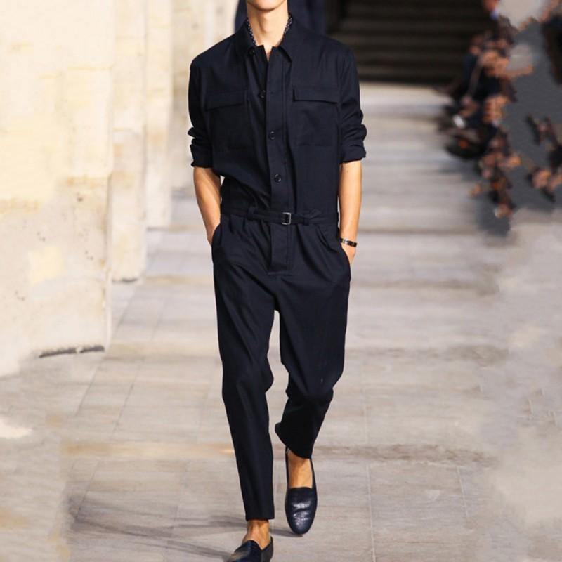 Korean Fashion Men Long Jumpsuits Cargo Pants Casual Streetwear Overalls Pencil Pants Slim Fit Long Sleeve One Piece Jumpsuit