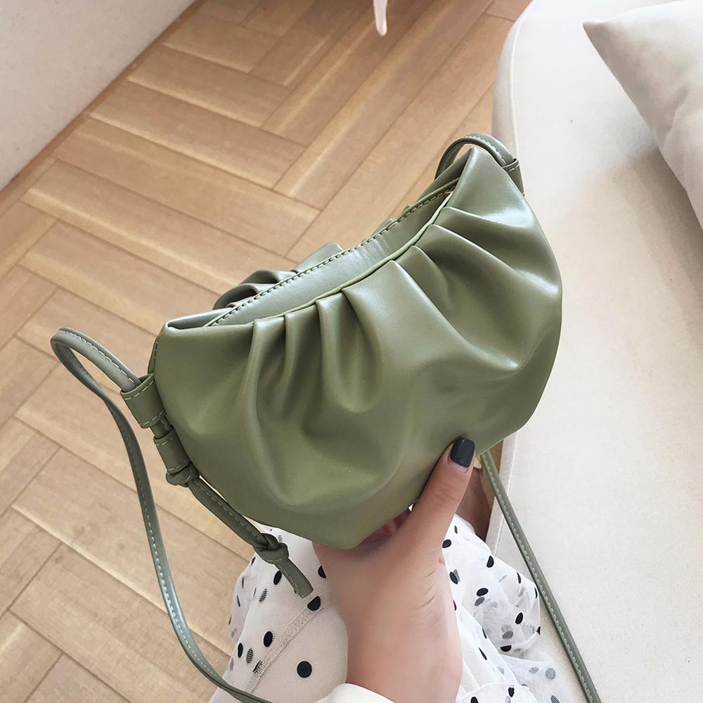 Fashion Soft PU Leather Cloud Shape Women Day Clutch Bag Pleated Dumpling Shoulder Messenger Bag Small Cute Lady Crossbody Bag