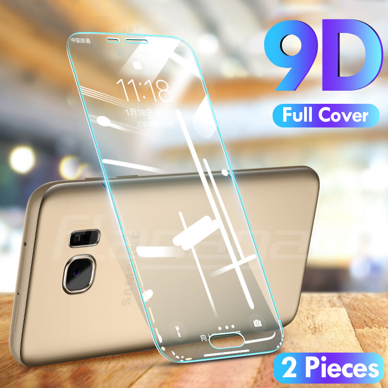 2-1Pcs Full Tempered Glass For Samsung Galaxy J4 J6 Plus J8 A6 A8 A7 2018 Screen Protector For Samsung A5 A3 A7 2017 Glass Film