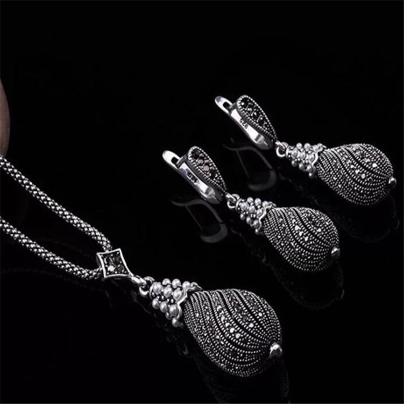ZOSHI Vintage Simulated Pearl Necklace Earrings Set Bohemia Black Vintage Wedding Bridal Jewelry Sets