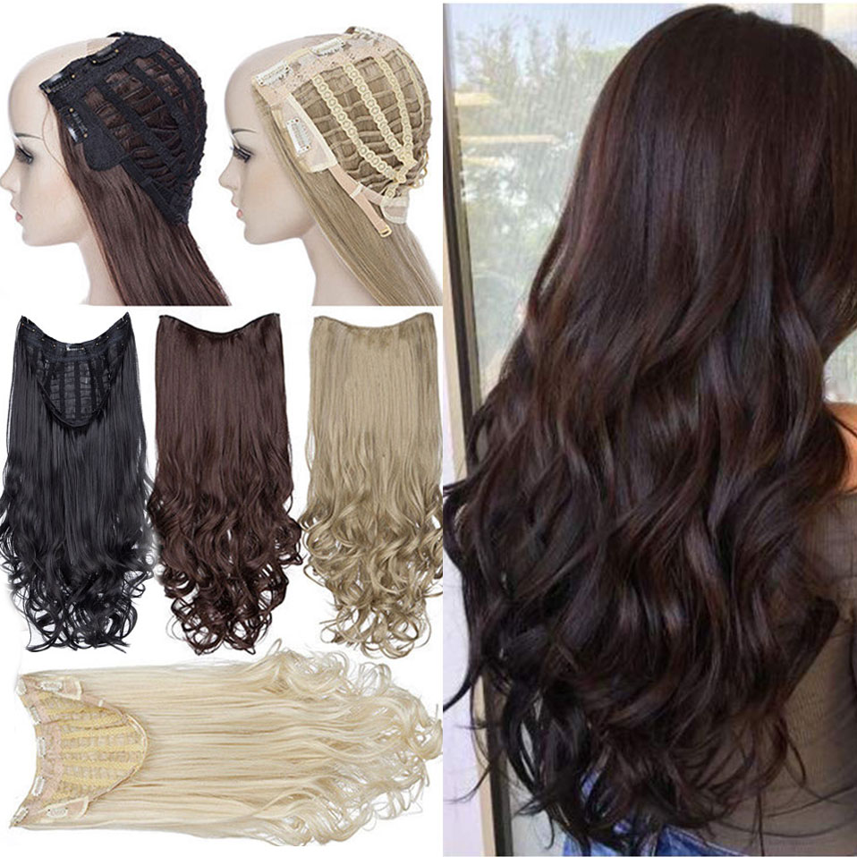 S-nolilite U Part Clip In One Piece Hair Extension Wavy Half Head U Wig Synthetic Extension Natural Hair Hairpiece For Women